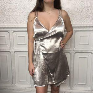 Wishlist Dresses - Shimmer Silver Satin Mini Wrap Dress